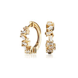 Gold Diamond Style Jagged Huggie Hoop Earrings