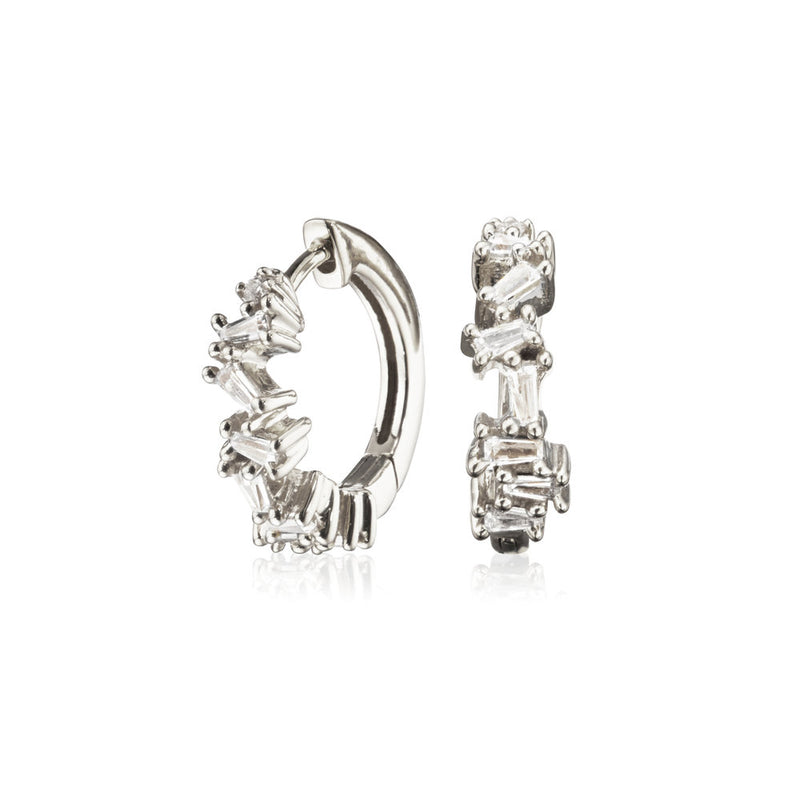 Silver Diamond Style Jagged Huggie Hoop Earrings