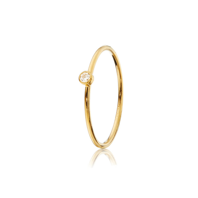 Gold Thin Diamond Style Stacking Ring
