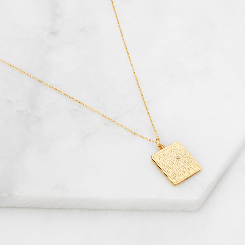 Gold Special Date Calendar Necklace