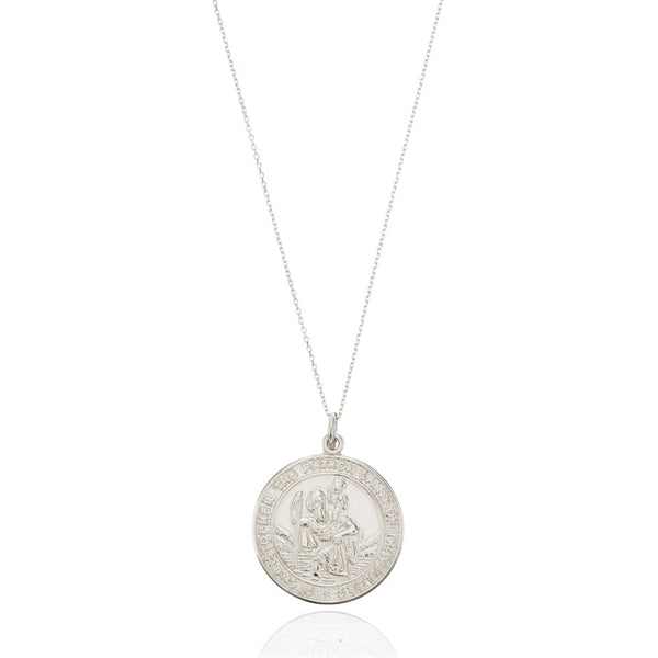 Silver Large Round St Christopher Medallion Necklace