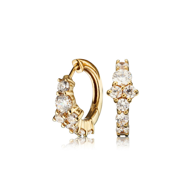 Gold Diamond Style Cluster Huggie Hoop Earrings