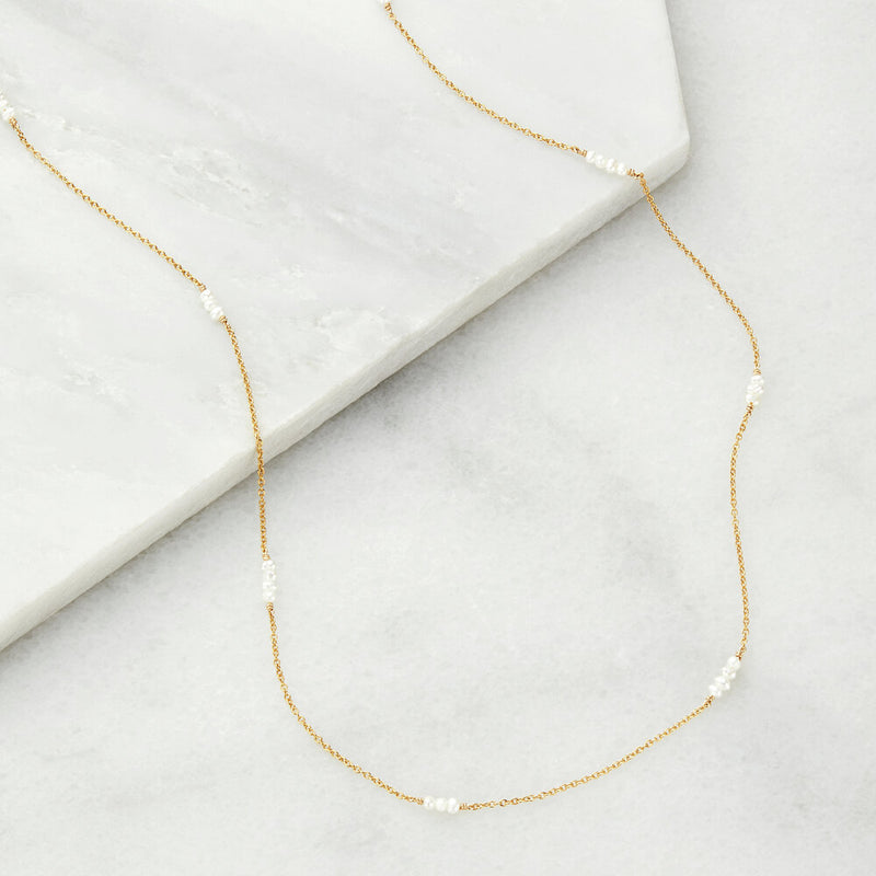 Gold Mini Pearl Necklace