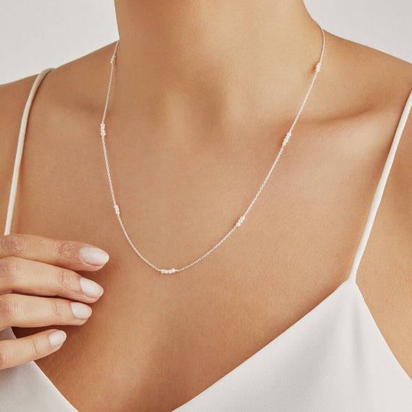 Silver Mini Pearl Necklace
