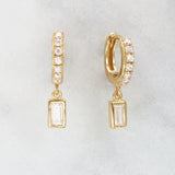 Gold Diamond Style Baguette Drop Huggie Hoop Earrings