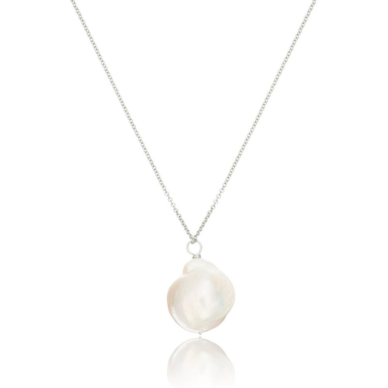 Silver Extra Large Baroque Pearl Necklace