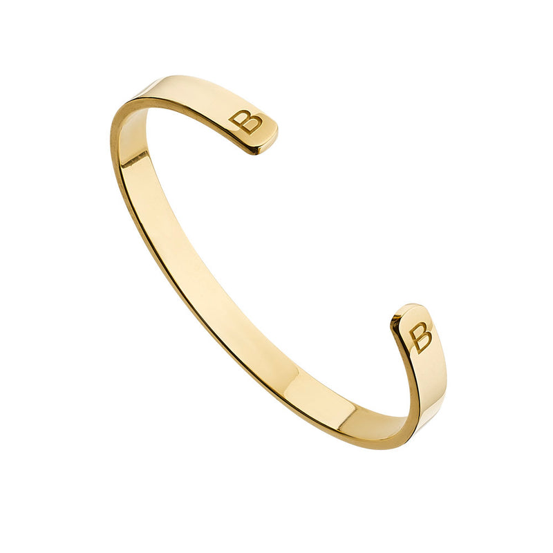 Gold Thick Engraved Bangle