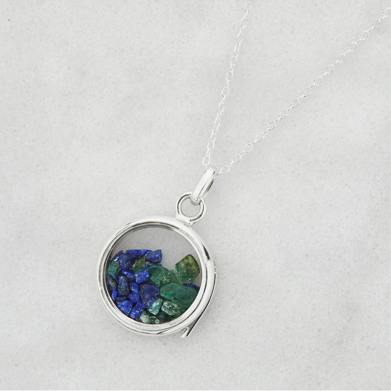 Silver Glass Gemstone Locket