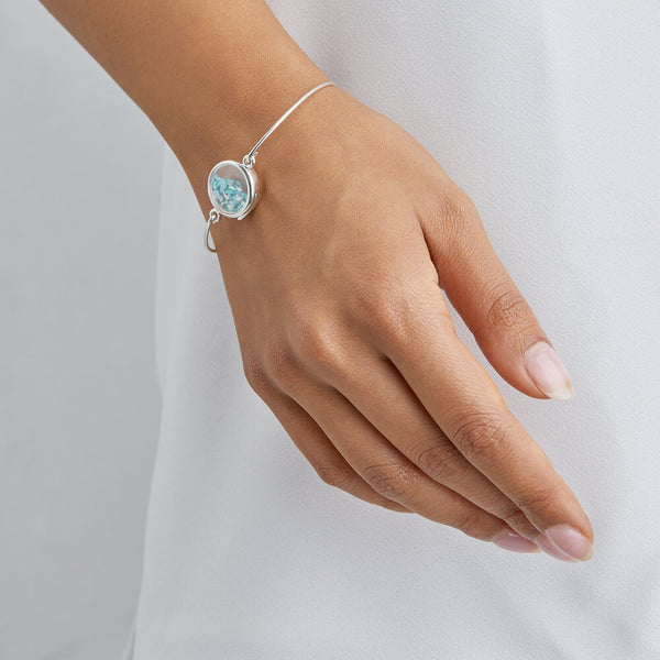 Silver Glass Gemstone Locket Bangle