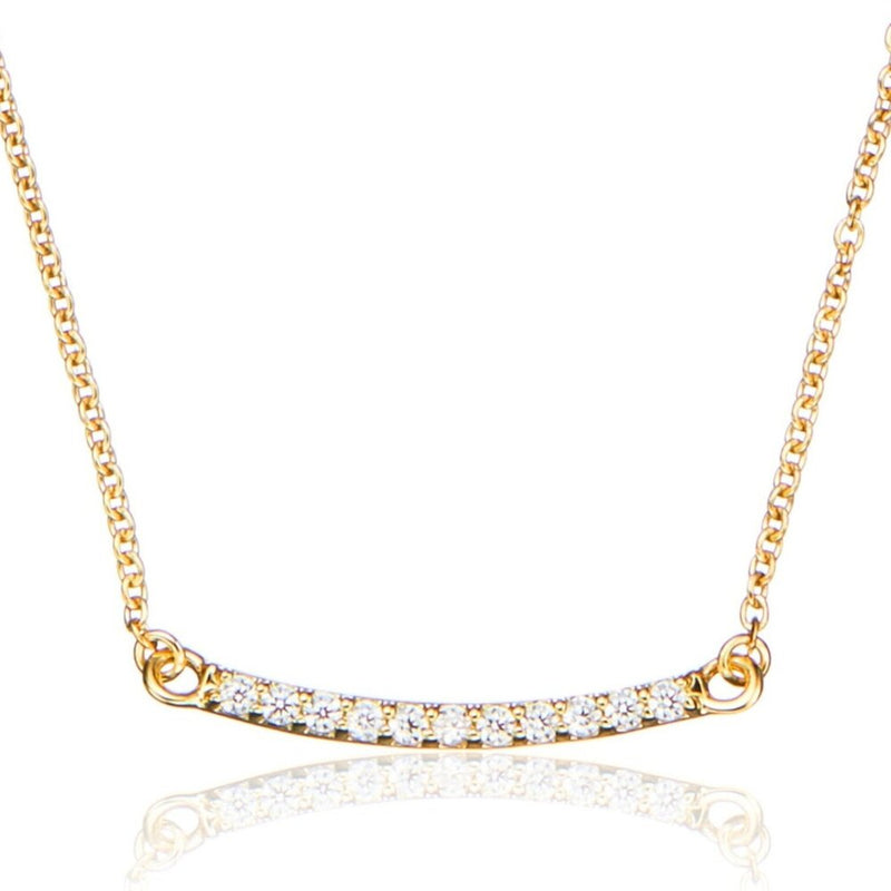 Gold Diamond Style Bar Necklace