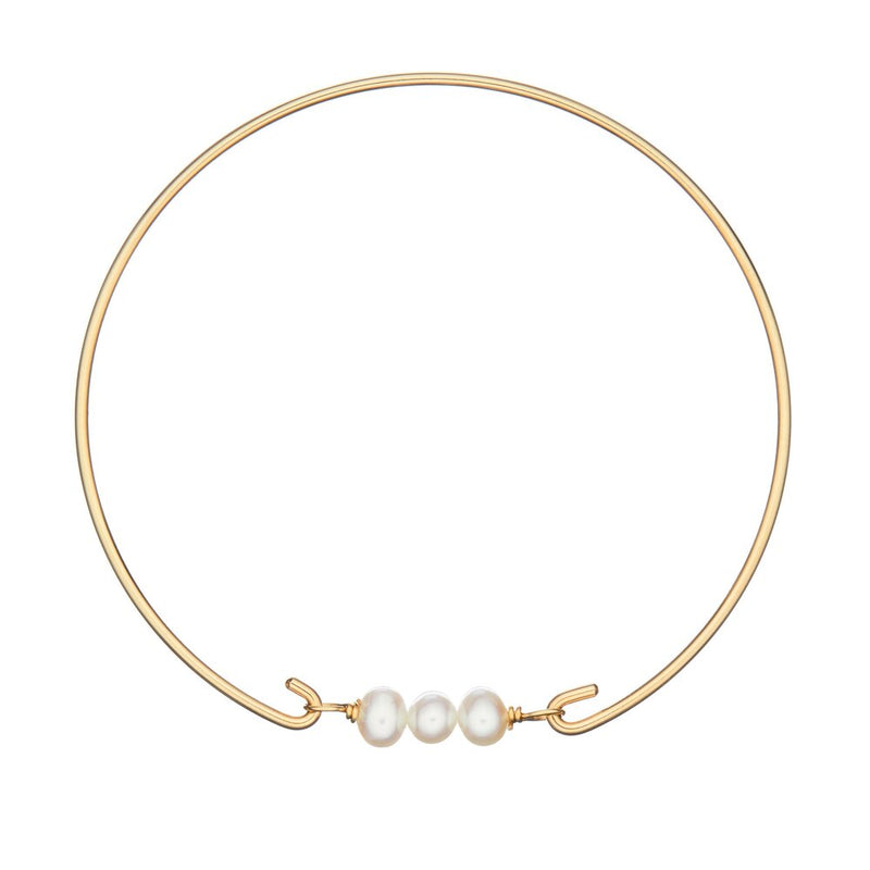 Gold Cluster Pearl Bangle