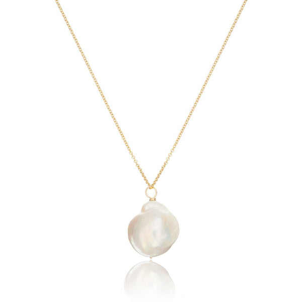 Gold Extra Large Baroque Pearl Necklace