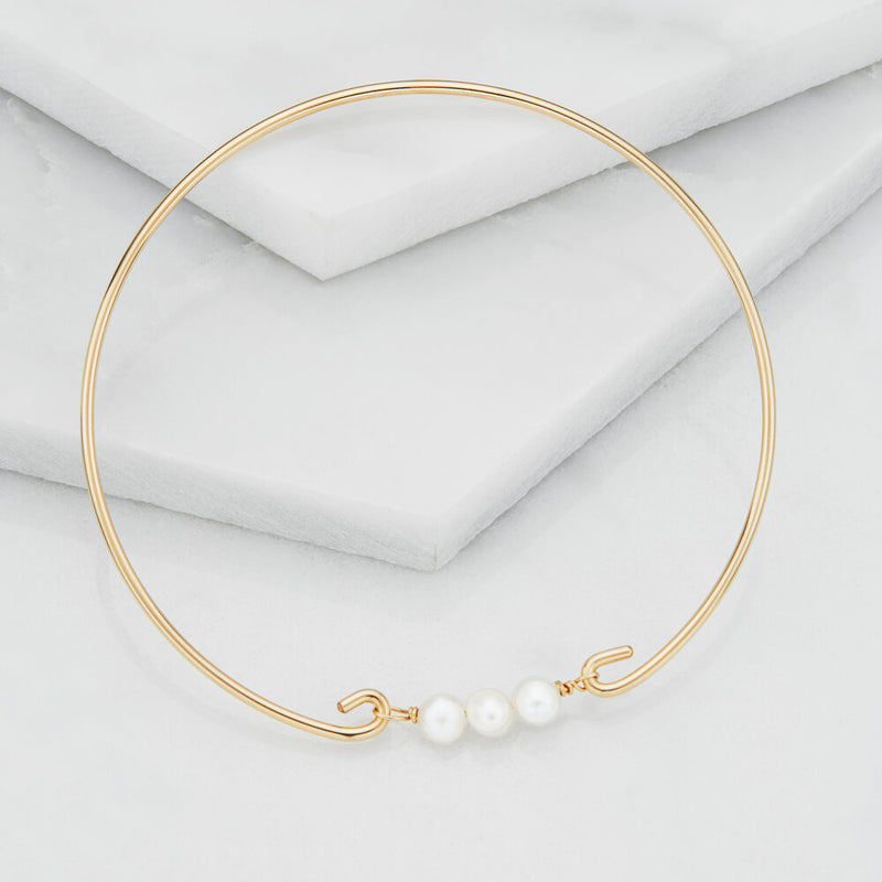 Silver Cluster Pearl Bangle