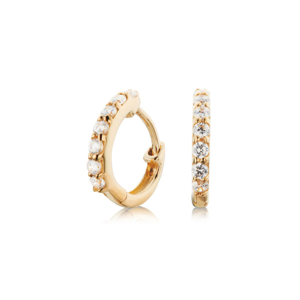 Gold Diamond Style Huggie Hoop Earrings