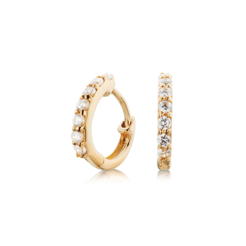 Solid Gold Genuine Diamond Huggie Hoop Earrings