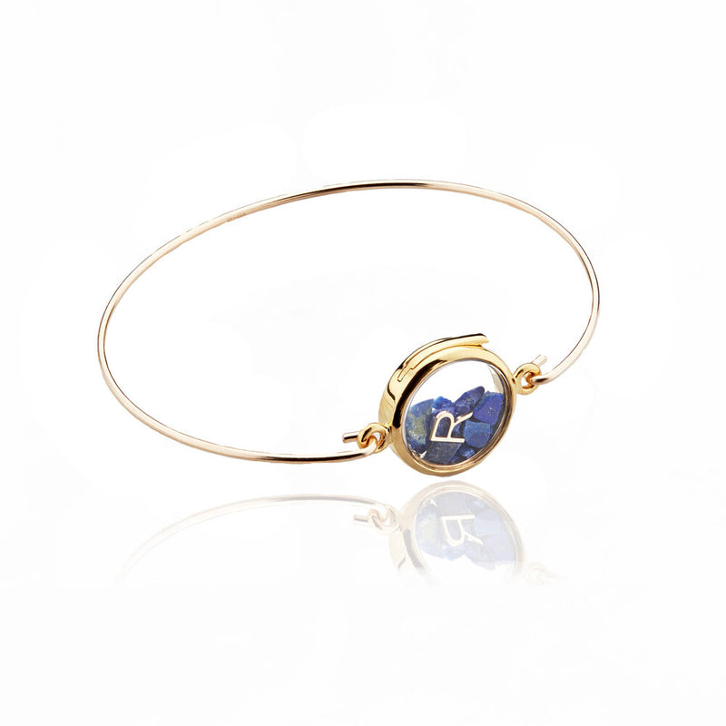 Gold Glass Gemstone Locket Bangle