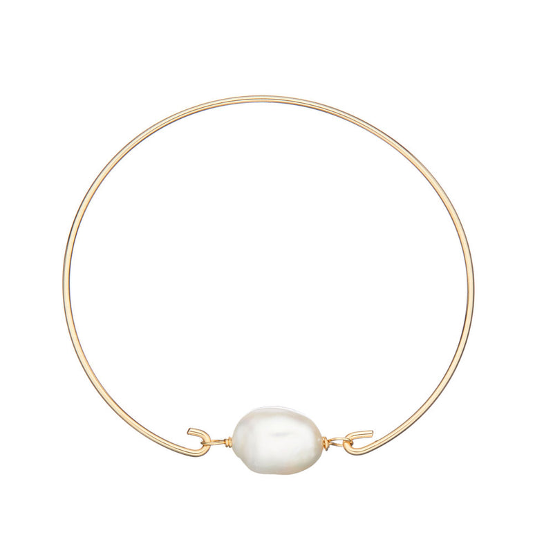 Gold Large Pearl Bangle