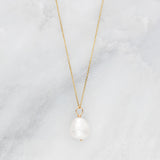 Silver Large Single Pearl Necklace
