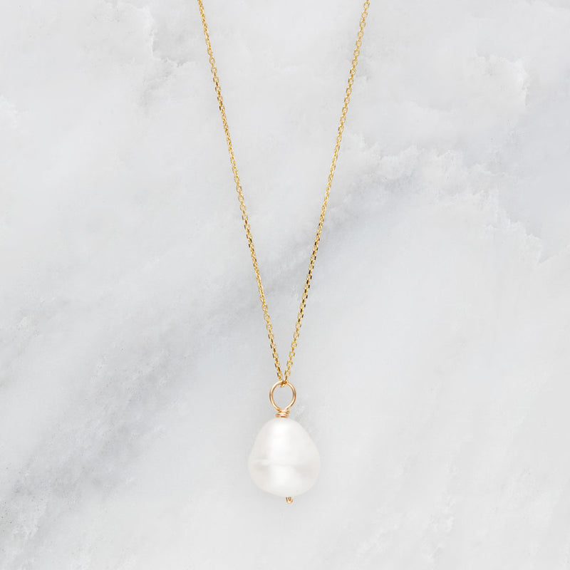 Gold Large Single Pearl Necklace
