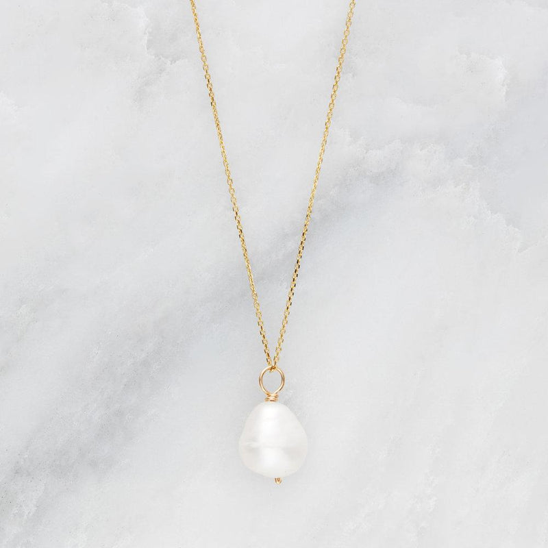 Rose Gold Large Single Pearl Necklace