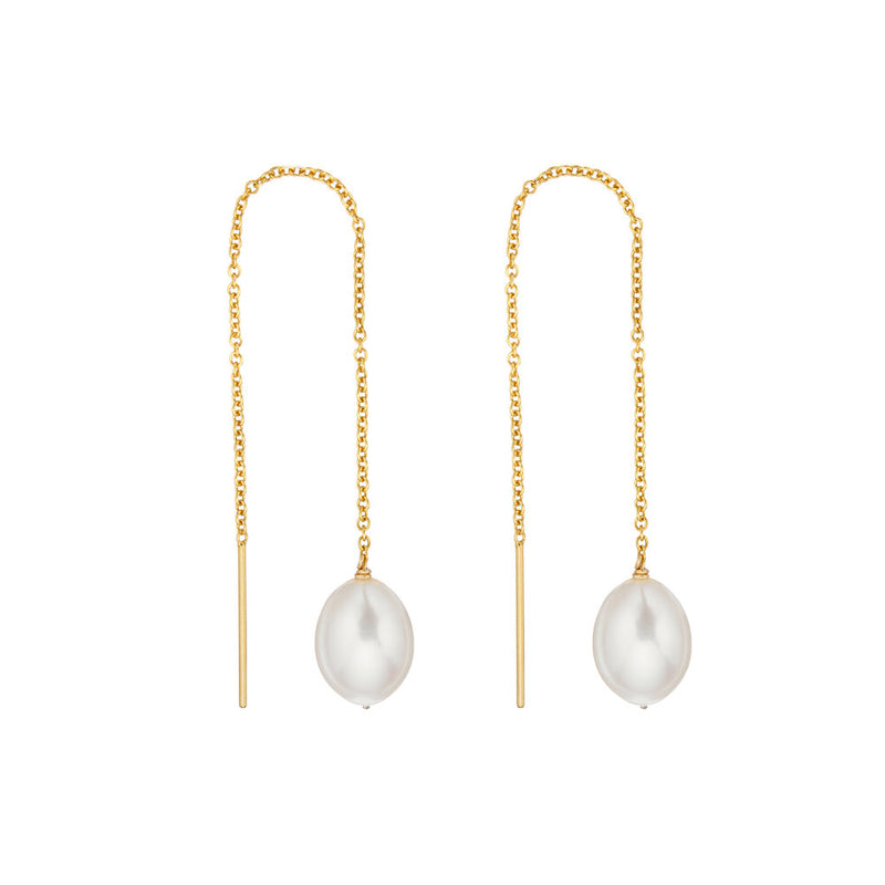 Gold Large Pearl Drop Ear Threaders