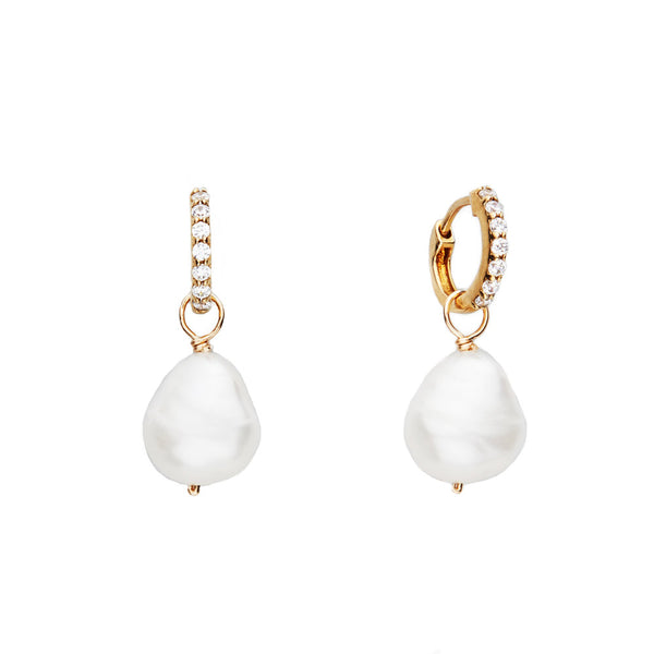 Gold Huggie Pearl Drop Earrings