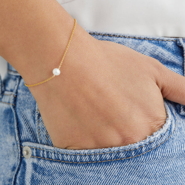 Gold Single Pearl Bracelet