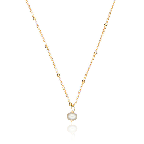 Gold Single Pearl Satellite Necklace