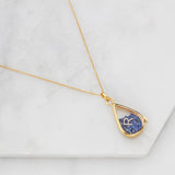 Gold Glass Gemstone Teardrop Locket