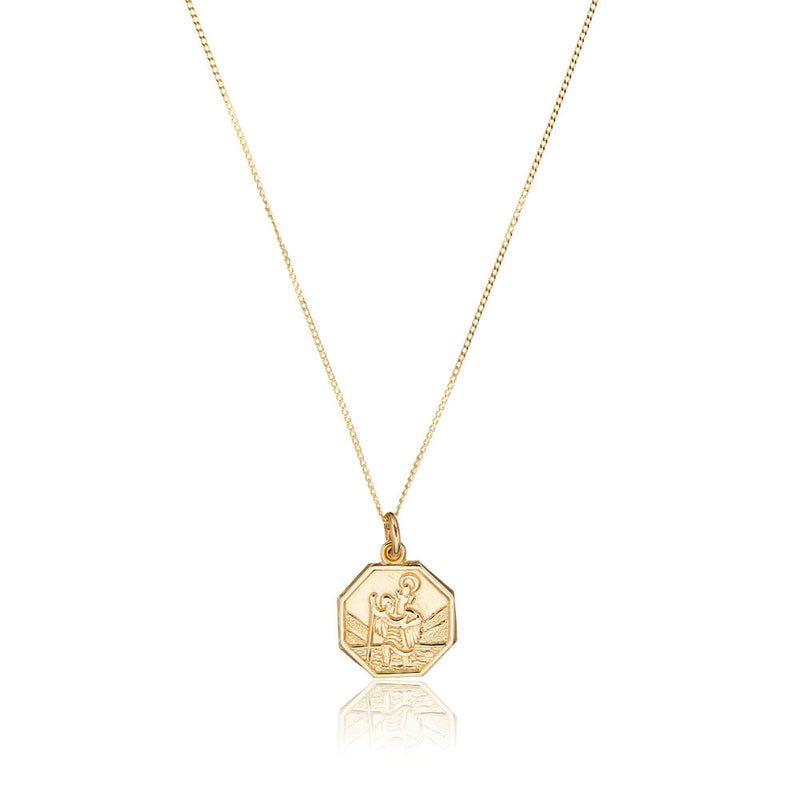 Solid Gold Small Octagonal St Christopher Necklace