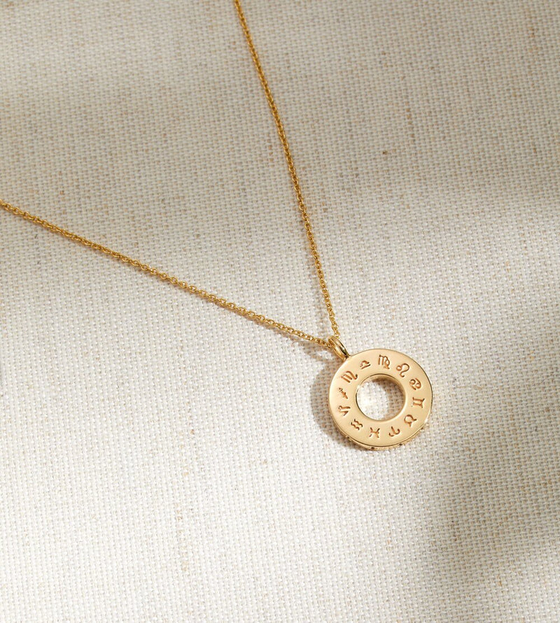 Gold Zodiac Birthstone Necklace
