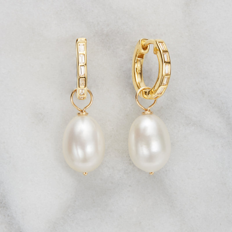 Gold Diamond Style Baguette Pearl Drop Hoop Earrings