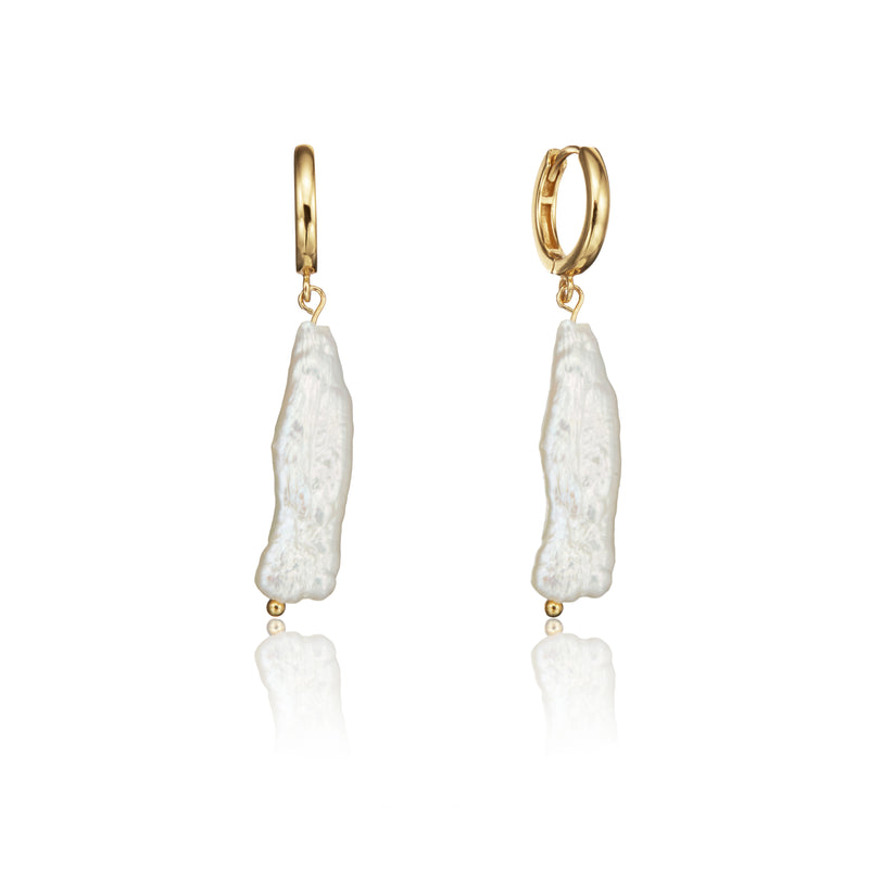Gold Baroque Pearl Shard Hoop Earrings