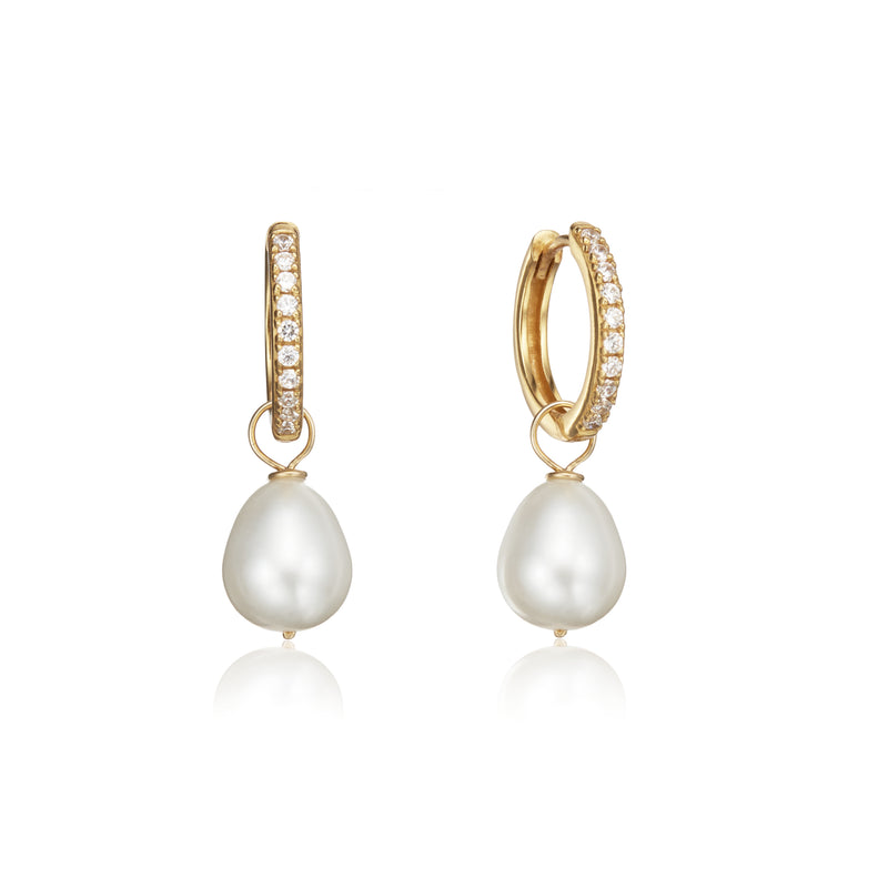 Gold Diamond Style Large Pearl Drop Hoop Earrings