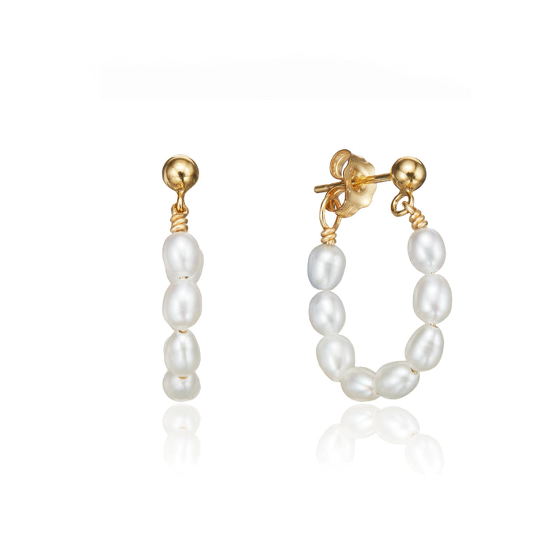 Gold Seed Pearl Hoop Earrings