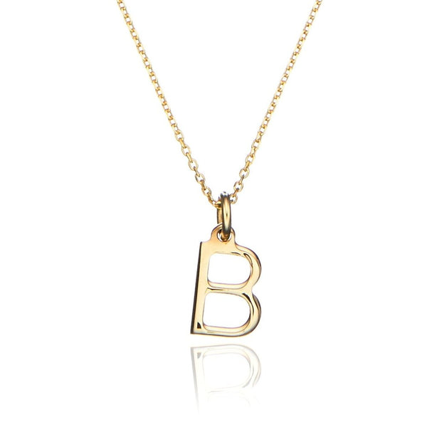 Solid Gold Initial Letter Necklace