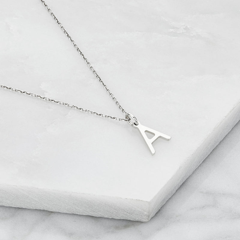 Silver Initial Letter Necklace