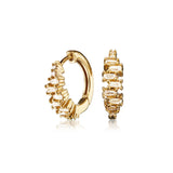 Gold Diamond Style Stacked Baguette Huggie Hoop Earrings