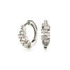 Silver Diamond Style Stacked Baguette Huggie Hoop Earrings