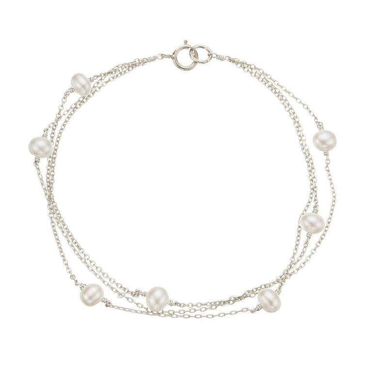 Silver Layered Pearl Bracelet