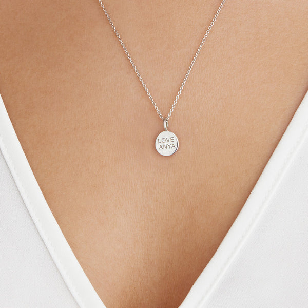 Silver Small Personalised Disc Necklace