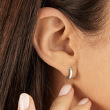 Silver Plain Huggie Hoop Earrings