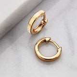 Gold Plain Huggie Hoop Earrings