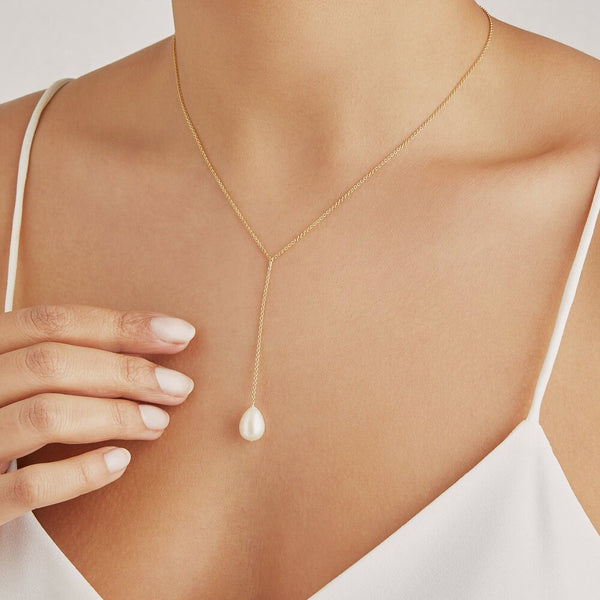 Gold Large Pearl Lariat Necklace