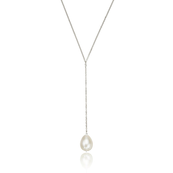 Silver Large Pearl Lariat Necklace