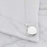 Silver Large Round Locket Necklace