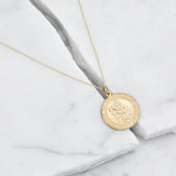Solid Gold Large Round St Christopher Medallion Necklace