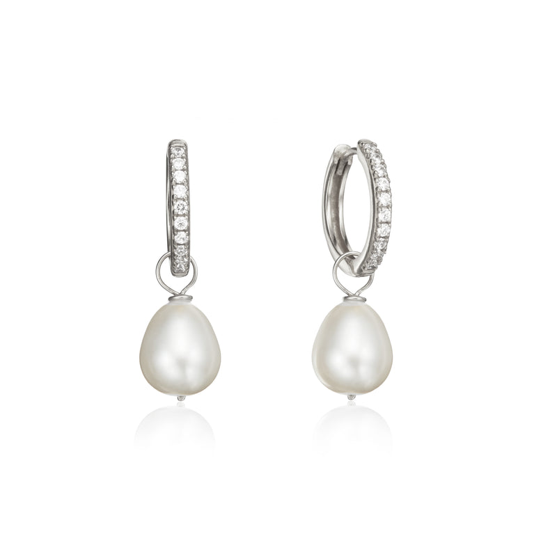 Silver Diamond Style Large Pearl Drop Hoop Earrings