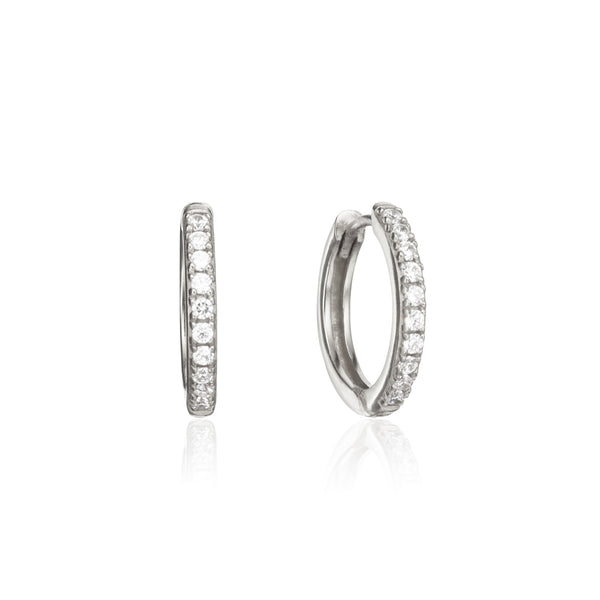 Silver Diamond Style Large Hoop Earrings