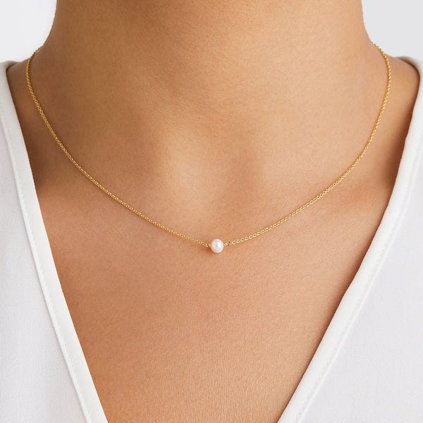 Gold Single Pearl Choker